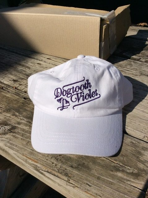 White Cap with Violet Embroidered Logo