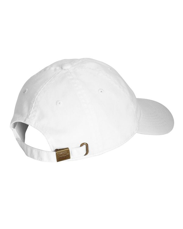 White hat rear view showing adjustment strap and buckle